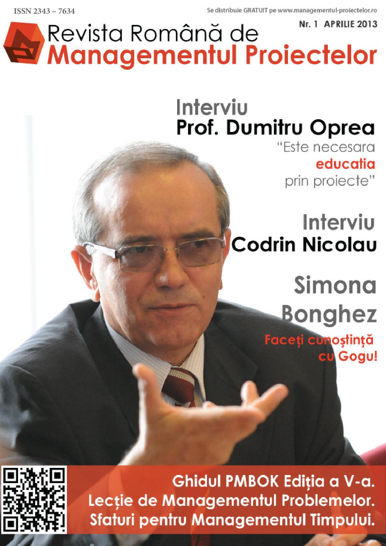 Revista Romana de Managementul Proiectelor Nr.1 Aprilie 2013